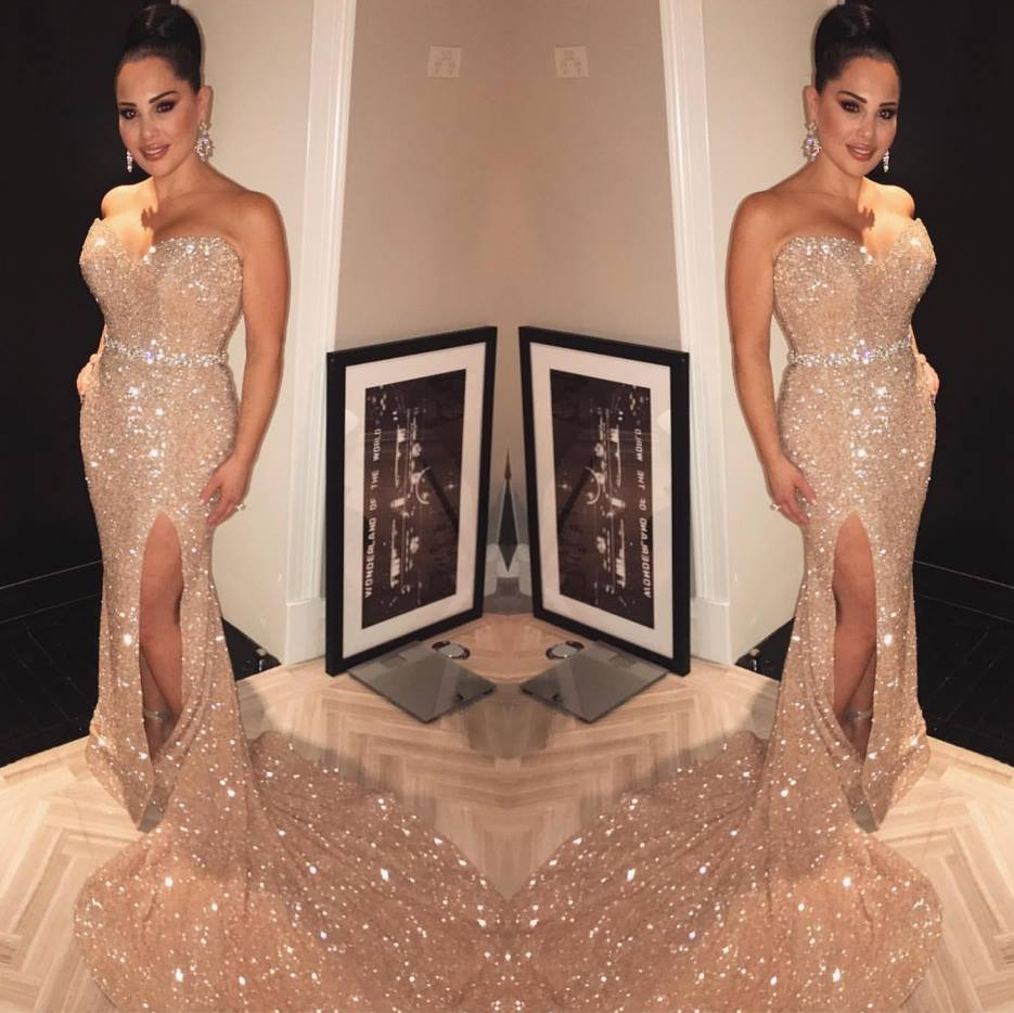 Luxury Beading Crystal Long   Prom     Dress   2019 Sexy V-Neck Backless   Prom   Gowns Custom Make Strapless Mermaid Evening Party   Dresses