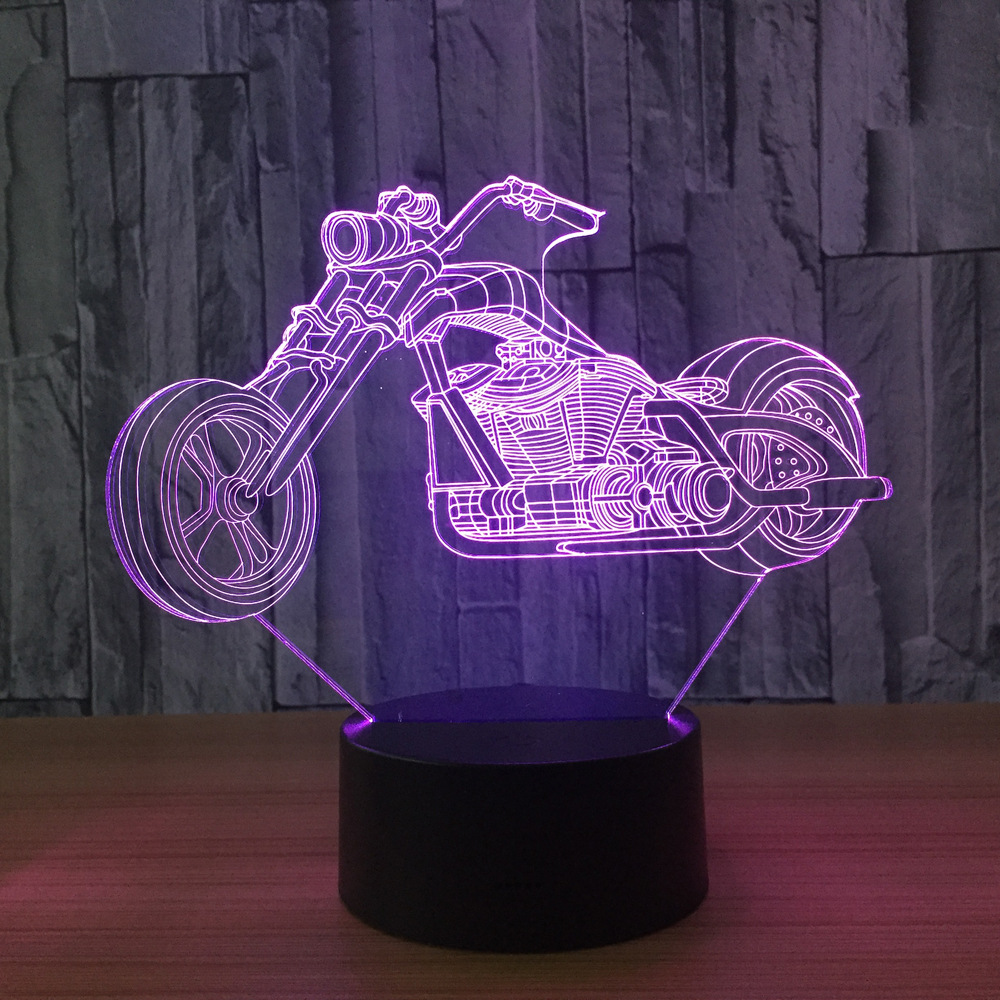 7 Colors Motorcycle Lamp 3D LED Visual Led Night Lights For Kids Touch Usb Table Lampara Baby Sleeping Nightlight Room Lamp