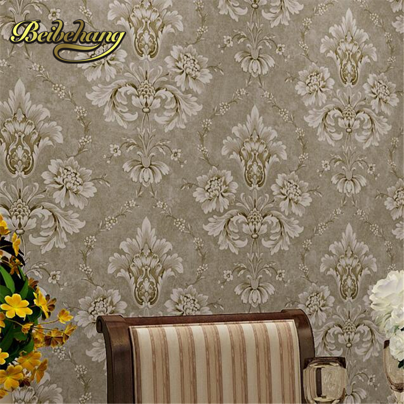 beibehang papel de parede. Continental Retro Pastoral Non - Woven Blue Green Damascus Living Room Bedroom Wallpaper Warm beibehang papel de parede retro classic apple tree bird wallpaper bedroom living room background non woven pastoral wall paper