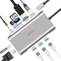 WIWU 10 in 1 USB Hub for MacBook USB C to HDMI/VGA/RJ45 Thunderbolt 3 Adapter for Dell/Samsung/Huawei P20 Pro Type c USB 3.0 Hub