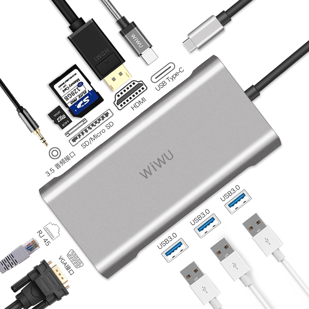 WIWU 10 in 1 USB Hub for MacBook USB C to HDMI/VGA/RJ45 Thunderbolt 3 Adapter for Dell/Samsung/Huawei P20 Pro Type c USB 3.0 Hub