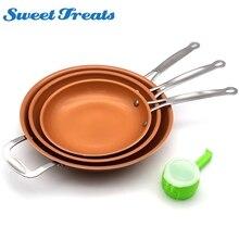 Sweettreats סט 8/10/12 אינץ שאינו מקל נחושת מחבת עם ציפוי קרמי אינדוקציה בישול + 1 pc שירות בריא מזון