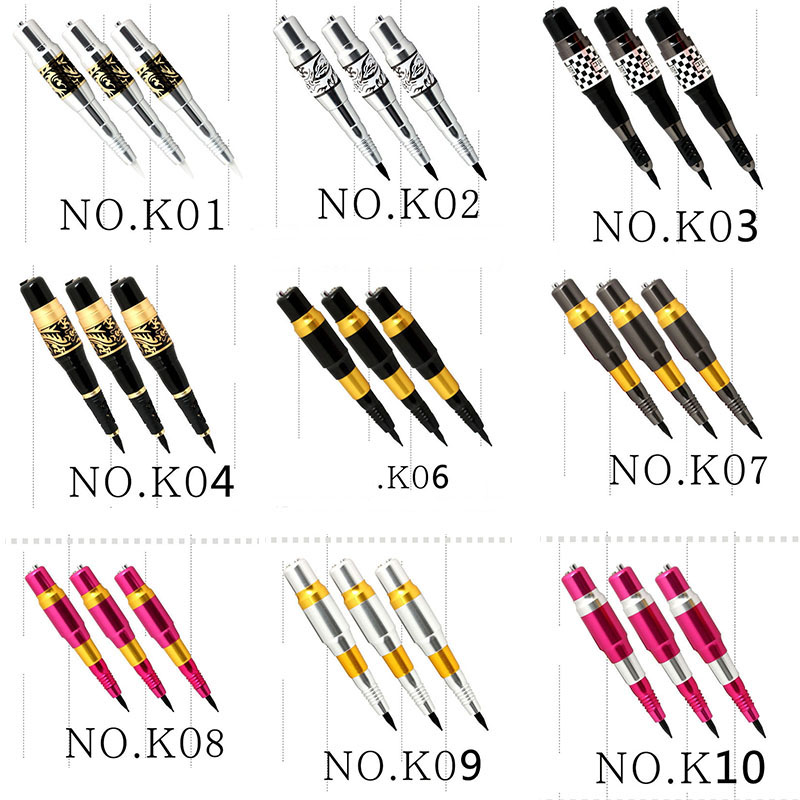 10 pcs Pro Tattoo Makeup Rotary Permanent Lips Machine For Eyebrow Pen with AC adapter hot x3 permanent makeup machine for lips eyebrow makeup kit nouveau style rotary tattoo machine pen swiss motor free shipping