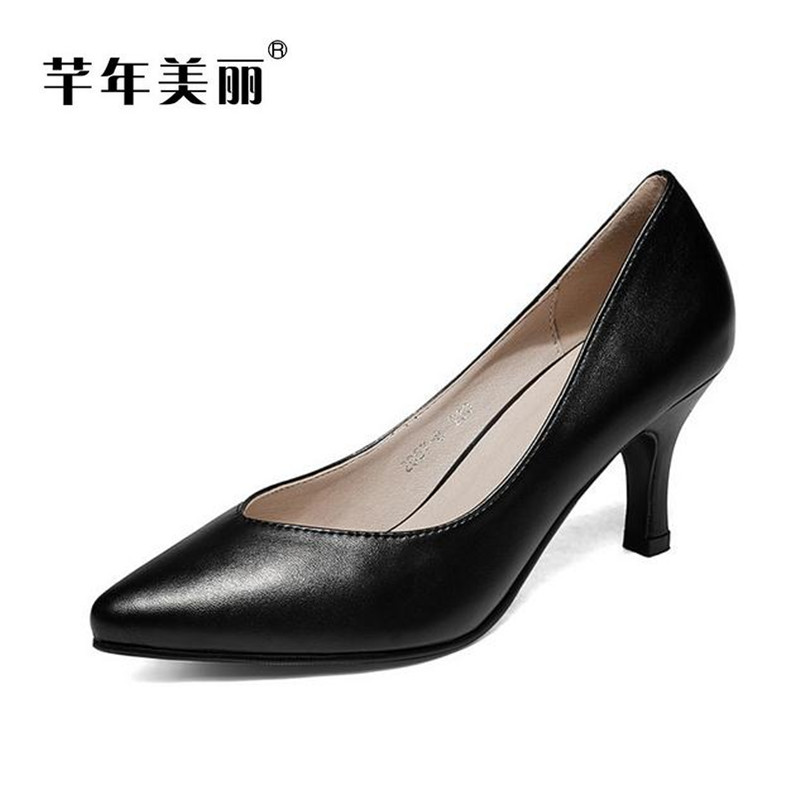 Spring autumn small code high heels Women Work shoes pointed toe shallow mouth 40-43 large size Heels pumps Tacones Mujer obuv цена 2017