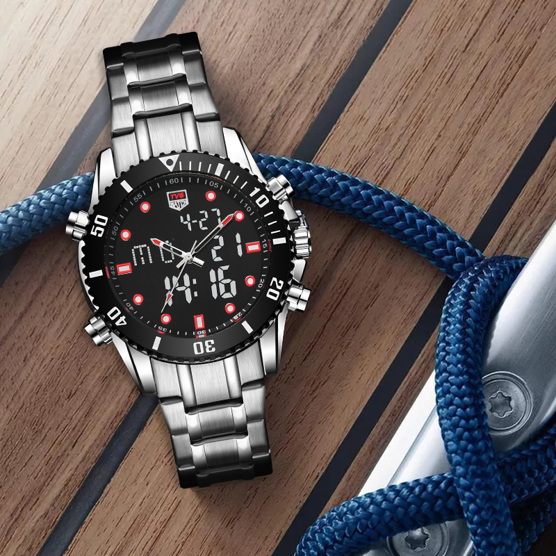 TVG 2018 Hight Quality New Luxury Brand Stainless Steel Stop Watch Sport Watch Men LED Watch 100FT Waterproof Wrist Watches RED