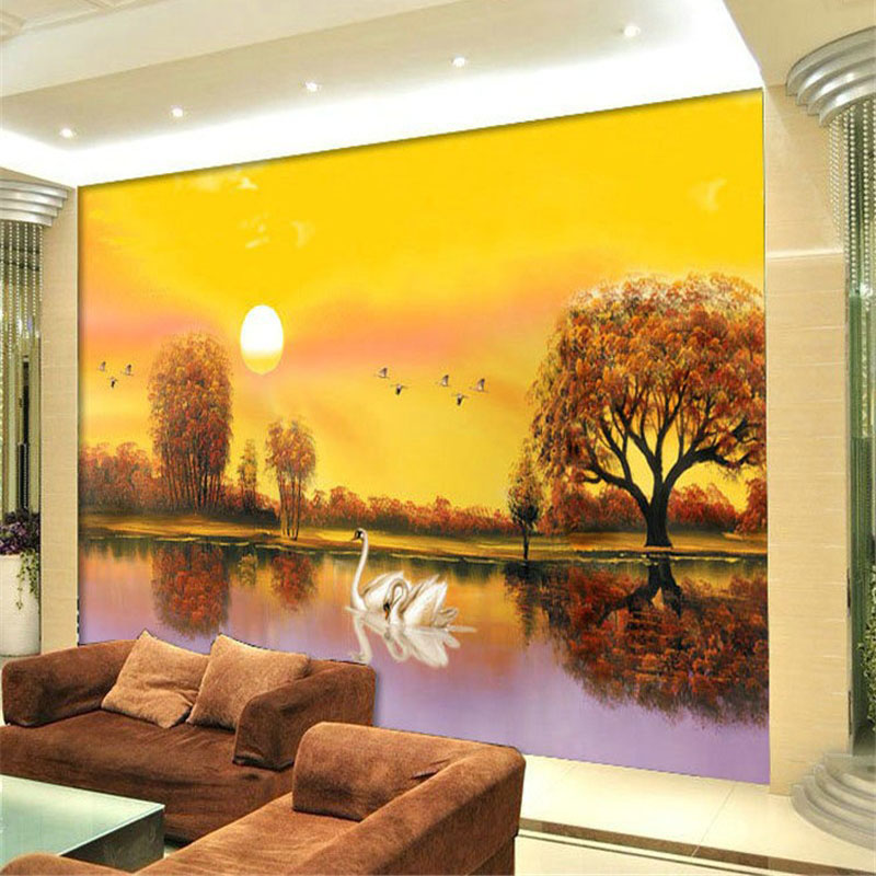 Buy custom any size 3d nature landscape for 3d wall mural painting