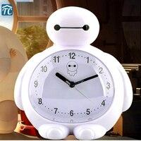Grote witte wekker kind voorzitters mute cartoon schattige kleine wekker tafel Controle LED display elektronische desktop Digit