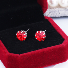 Hot Sale Popular Multi-color Simple Round 12 Sets Small Crystal Red Blue Green Pink Stud Earrings Set Clothing Accessories Gifts