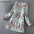 Высокое Качество Пальто Женщин Жаккардовые 3D Цветок Вышивка Пальто Sobretudo Feminino Casacos Ветровка Женщин Пальто Femme