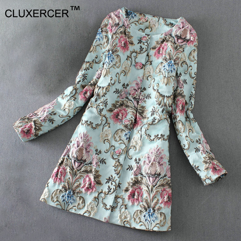 High Quality   Trench   Coat Women Jacquard 3D Flower Embroidery   Trench   Coat Sobretudo Feminino Casacos Windbreaker Women Coat Femme