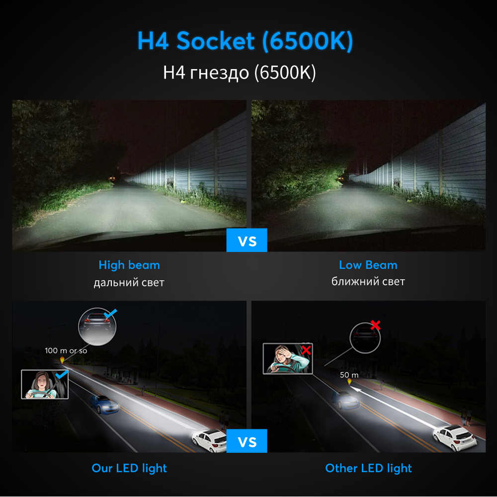 Oslamp LED H4 Car Bulbs 6500K All-in-one H7 LED Headlight Fan-less Auto Lamps SUV 50W CSP Chips LED H11 Lamps 9005 9006 HB3/HB4