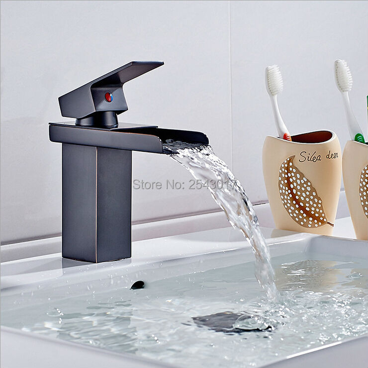 Oil Rubber Bronze Basin Waterfall Faucet Mixer Tap Black Finished Luxury Mixer Faucet, Torneira Banheiro ZR314