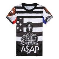 Neueste 3D Shirt Groß Rapper ASAP Rocky & Lil Wayne Klassische Album Graphic Tees Hip Hop Amerika Flagge Striped Frauen Männer T-shirt