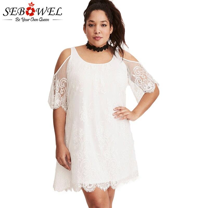 White-Plus-Size-Lace-Cold-Shoulder-Trapeze-Dress-LC220363-1-1