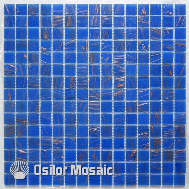 Trasporto libero di vetro blu mattonelle di mosaico per - Mosaico blu bagno ...