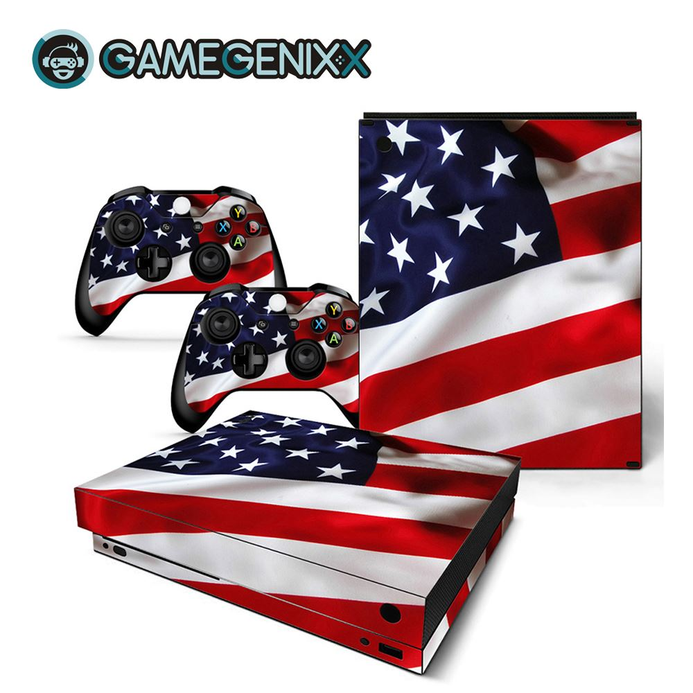 GAMEGENIXX Skin Sticker Protective Vinyl Decal for Xbox One X Console and 2 Controllers - American Flag(China)
