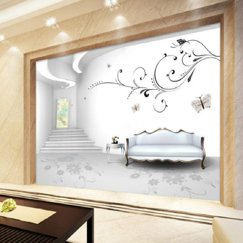 3D space sense European style large mural wallpaper living room bedroom wallpaper painting TV background stereo wallpaper free shipping large mural wallpaper villa living room ceiling european oil painting wallpaper