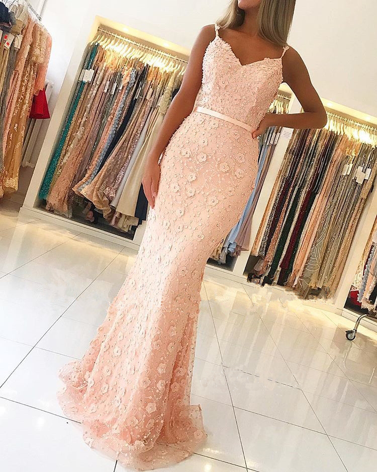 New Style Peach   Prom     Dress   Spaghetti Straps V-neck Flowers Tulle Mermaid Evening Prty Gowns