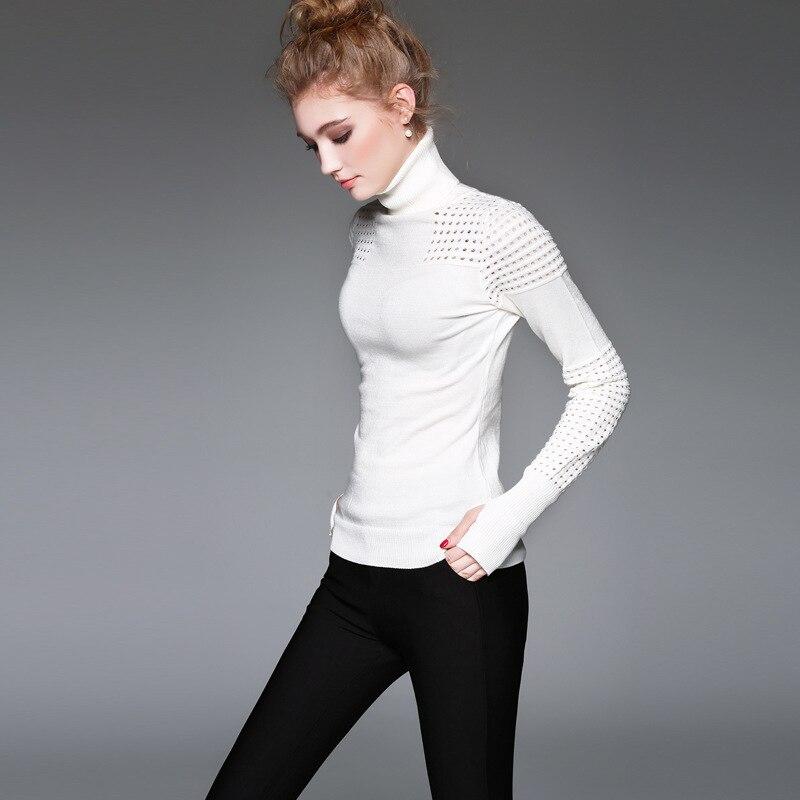 Для женщин белый пуловер свитер взлетно посадочной полосы осень зима модные однотонные хлопковые трикотажные Тонкий Топы корректирующи
