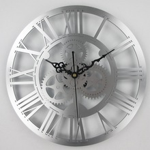 Large Antique Wall Clock 3D Acrylic Gear Wall Clock Vintage Retro Style Living Room Big Watch Clock Horloge Murale
