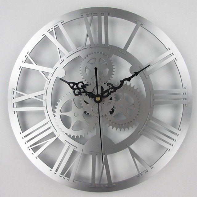Large Antique Wall Clock 3D Acrylic Gear Wall Clock Vintage Retro Style Living Room Big Watch Clock Horloge Murale