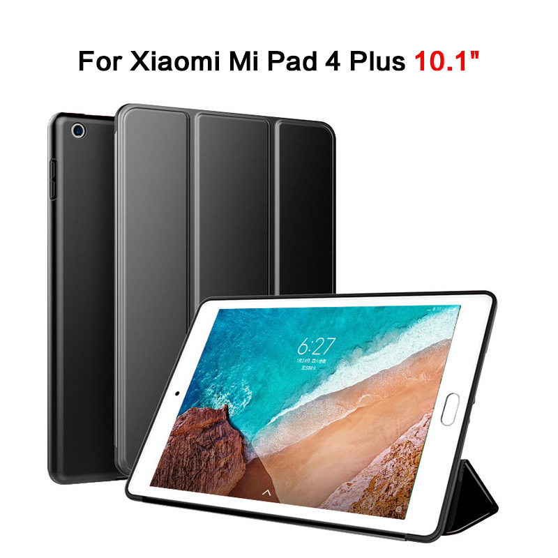 For Xiaomi Mi Pad 4 Plus Case 10.1\'\' Leather Smart Stand Cover Hard Back For Mi Tablet 4 Plus With Auto Sleep/Wake Up Shockproof