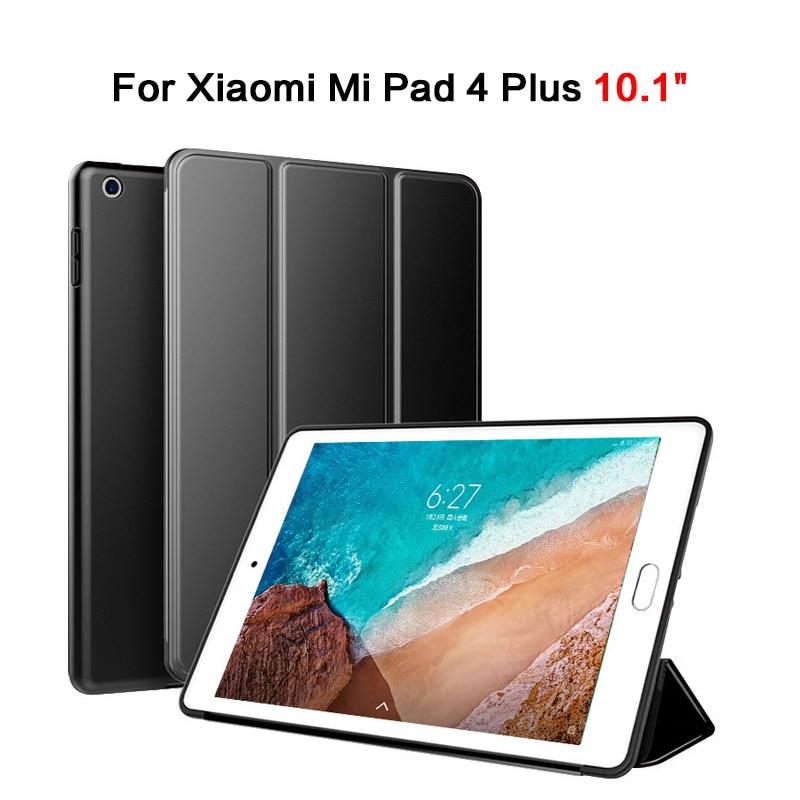 Para Xiaomi mi Pad 4 Plus Funda de cuero de 10,1 pulgadas funda de soporte inteligente trasera dura para mi Tablet 4 Plus con Auto dormir/despertar a prueba de golpes