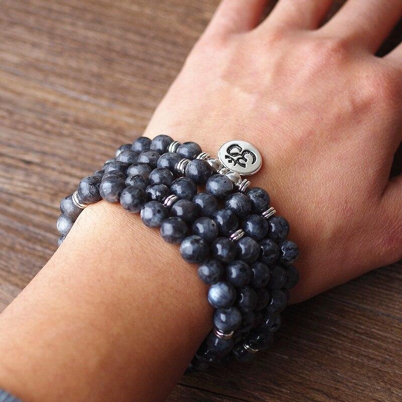 108 mala Labradorite with Lotus OM Buddha Charm Yoga Bracelet or Necklace Natural Stone Jewelry for Women Men