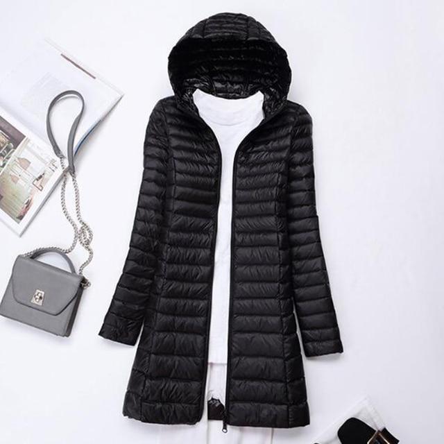 SEDUTMO Winter Long Ultra Light Duck Down Jackets Women  Down Coat Spring Puffer Jacket Slim Hooded Parkas ED230 2