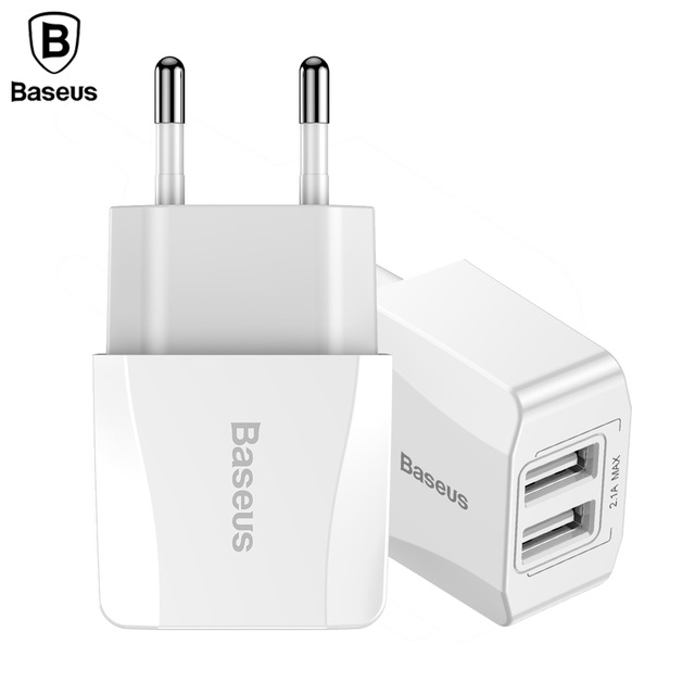 Baseus EU Dual USB Charger Mini Universal Phone Charger For iphone Samsung Xiaomi Adapter Travel Wall Mobile Phone Charger Plug