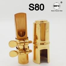 Profesjonalny francja Tenor sopranowy saksofon altowy metalowy ustnik złoty lakier S80 ustnik Sax usta kawałki 5 6 7 8 9 tanie tanio Music fancier Club