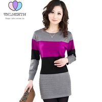 2017 Women Autumn Cheap Clothing Sweater Dress High Quality Spring Cashmere Sweater Stripe Tops Large Size