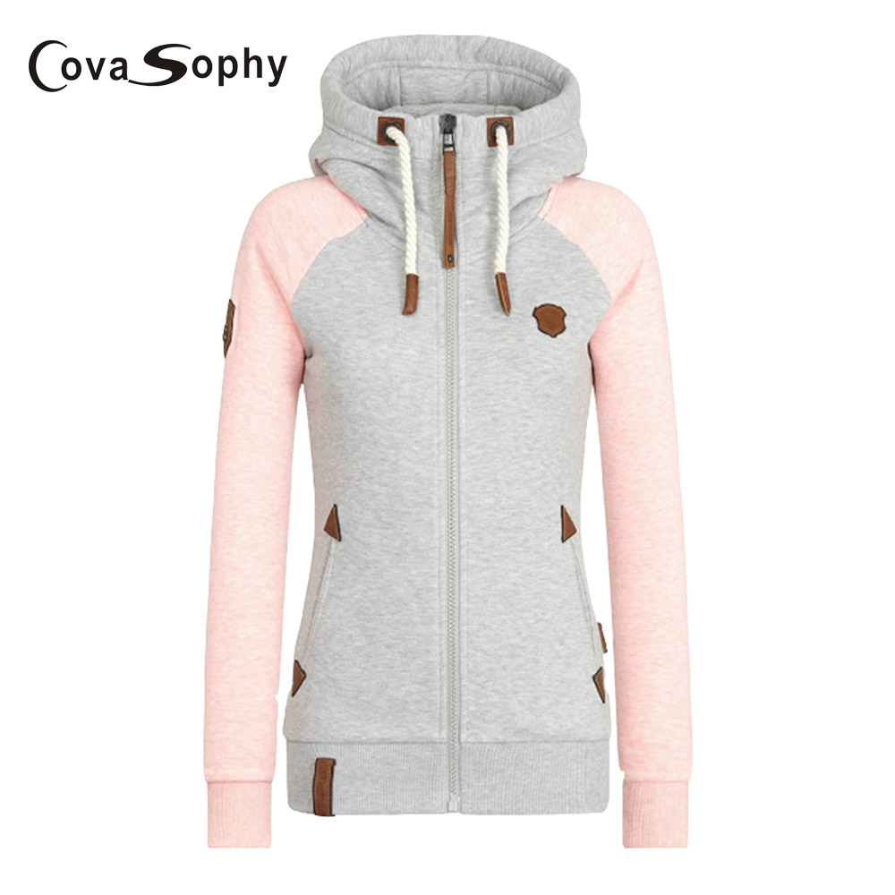 Cova Sophy 2017 Winter Women New Fashion Long Sleeve Shirts Hooded Casual Patchwork Appliques Tops