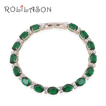AAA Zircon & Green Crystal luxury bracelets  White Gold Tone Health Fashion jewelry TB460 free shipping