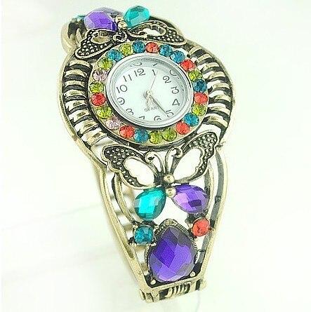 Free shipping vintage luxury dress ladies timepiece wrist jewelry hollow out bracelet bangle watches crystal quarzt wristwatch
