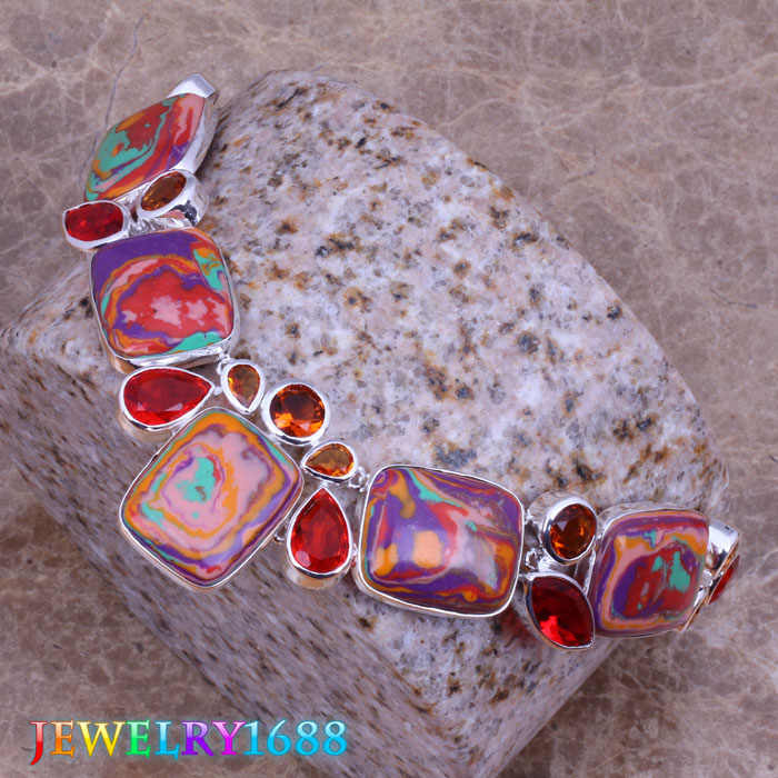 Unique Multicolor Natural Stone Red  Garnet 925 Sterling Silver   Grade  Necklace L490