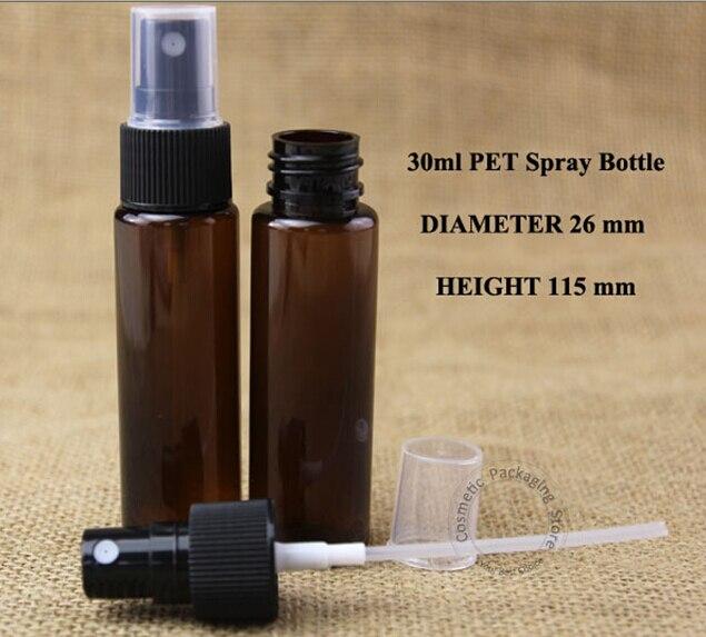 100 개/몫 도매 앰버 30 ml 플라스틱 스프레이 병 빈 atomizer 모자 1 oz 여성 화장품 용기 작은 향수 포장-에서리필 병부터 미용 & 건강 의  그룹 1