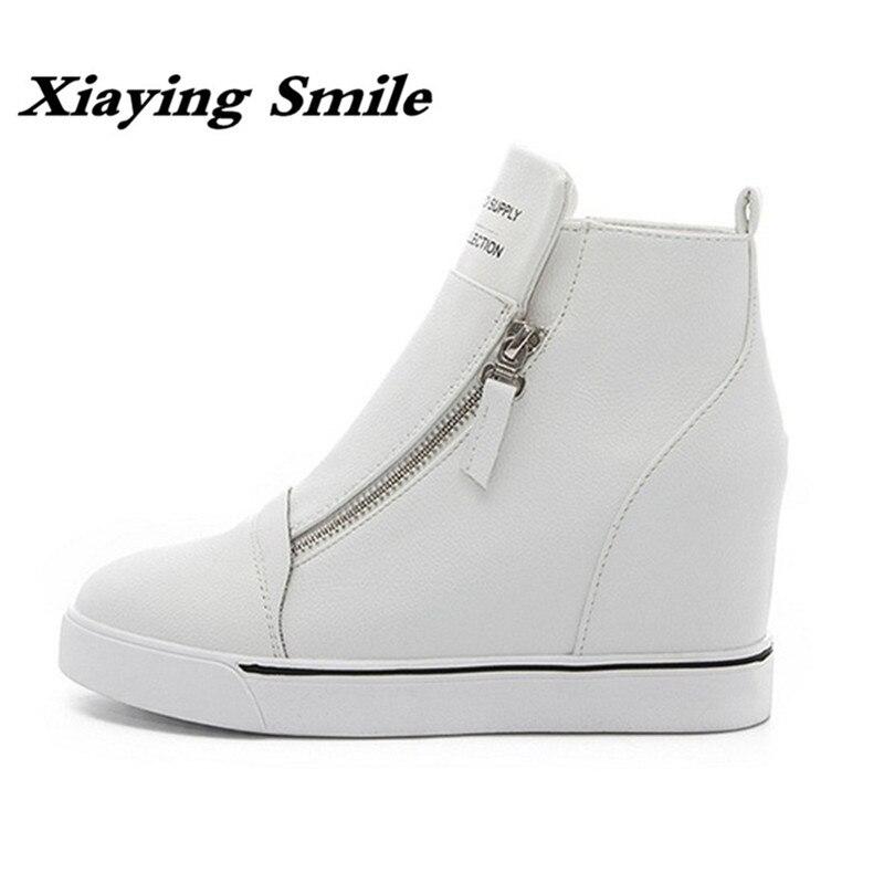 Xiaying улыбка Демисезонный зимний стиль Женская обувь Повседневное модные увеличивающие рост ботильоны, женская обувь