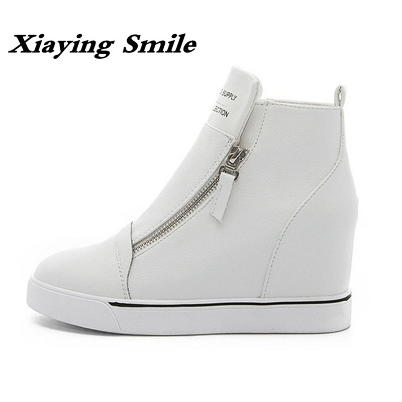 Xiaying Smile Spring Autumn Winter Style Woman Shoes Casual Fashion Cool Increased Internal Ankle Shoes Zip Rubber Women Shoes xiaying smile summer new woman sandals casual fashion shoes women zip fringe flats cover heel consice style rubber student shoes
