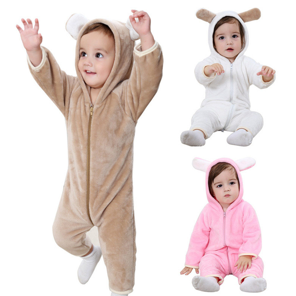 Cute Infant Kids Baby Boy Or Girls Animal Shapes Romper Jumpsuit Outfit Clothes winter rompers new born baby clothes for 0-2T