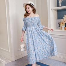 520 Летняя одежда новая версия моды без плеча и талии показать тонкое длинное платье для беременных
