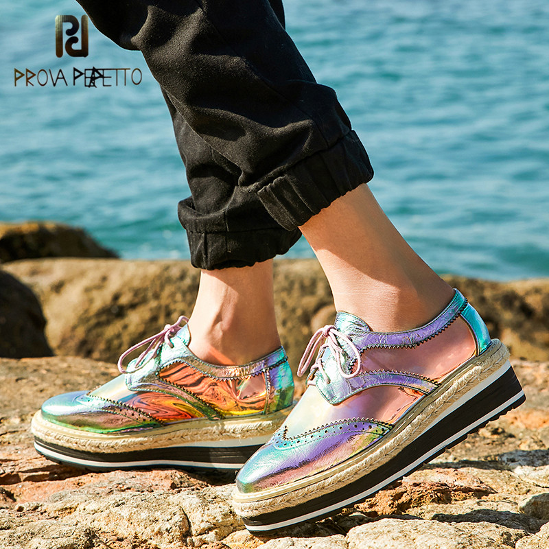 Prova Perfetto marque chaussures en cuir verni décontracté à lacets bout carré plate-forme richelieu femme Creepers Star chaussures