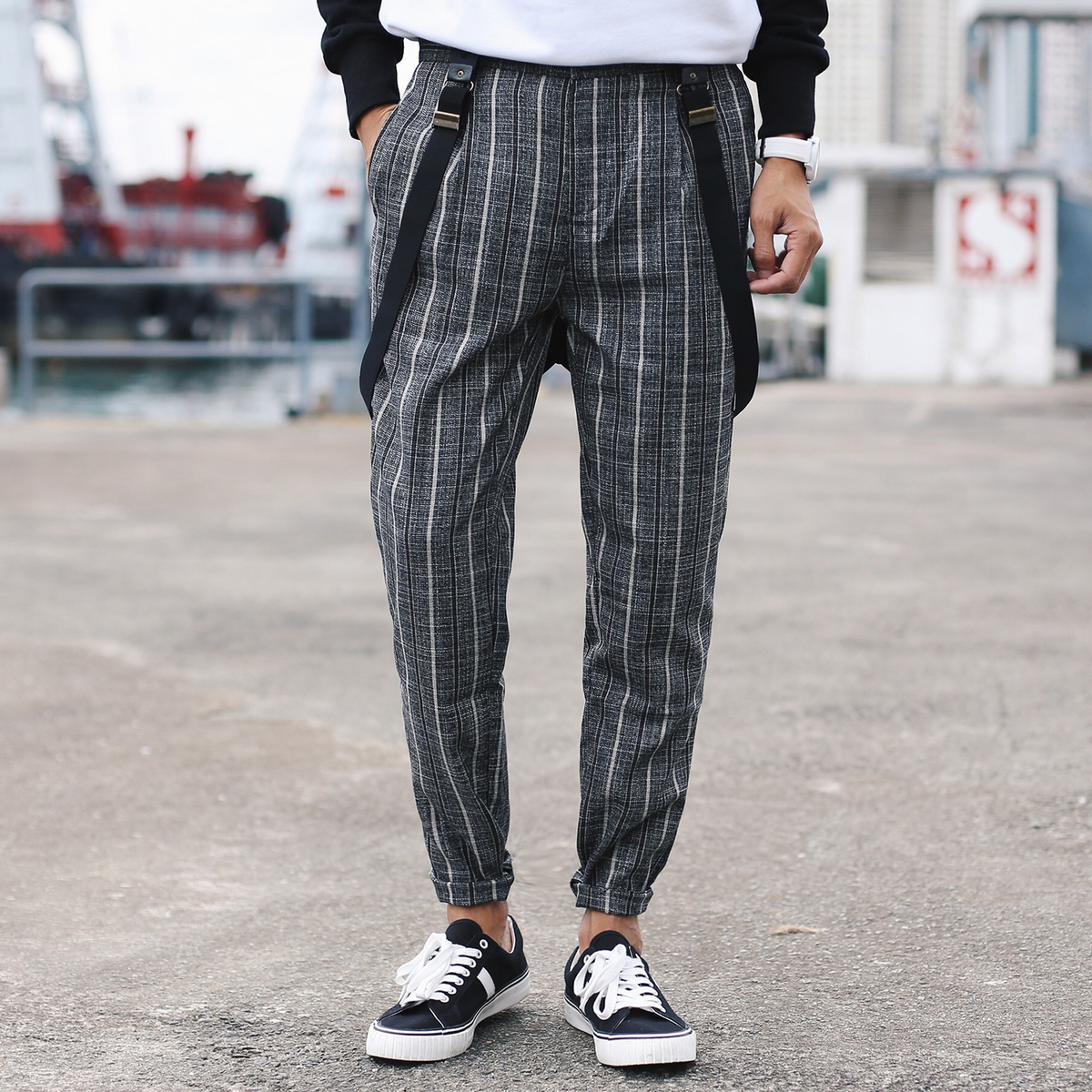 2017 Autumn Japanese New Style Mens Casual Cotton Skinny Grid Pants Rompers Thick Linen Slim Fashion Trousers Nice Overalls