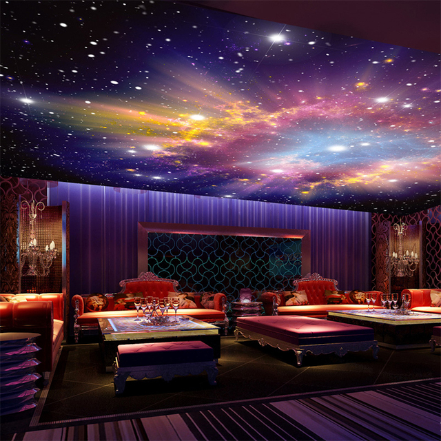 Wallpaper Modern Star Nebula Night Sky Mural Wall Cloth Ktv Bar Theme Hotel Kids Bedroom