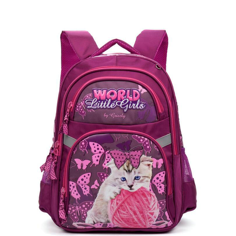 GRIZZLY Russia Kids Cartoon Primary School Bags Children Orthopedic Waterproof School Backpack for Girls Bags Grade 1-4