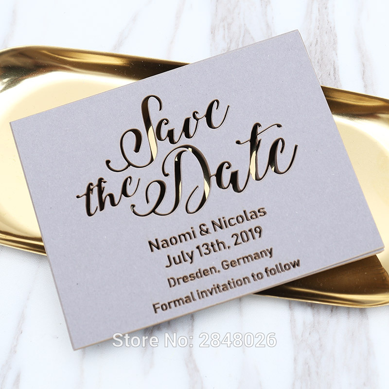 Matching Save The Date And Wedding Invitations: Laser Cut Grey Save The Date, Laser Cut Wedding Save The