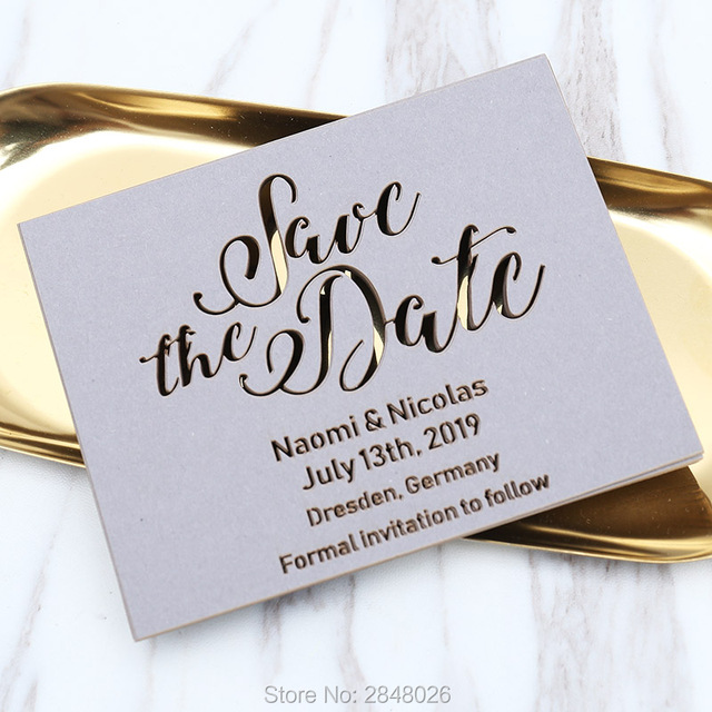 Laser cut Grey save the date, laser cut wedding save the date cards