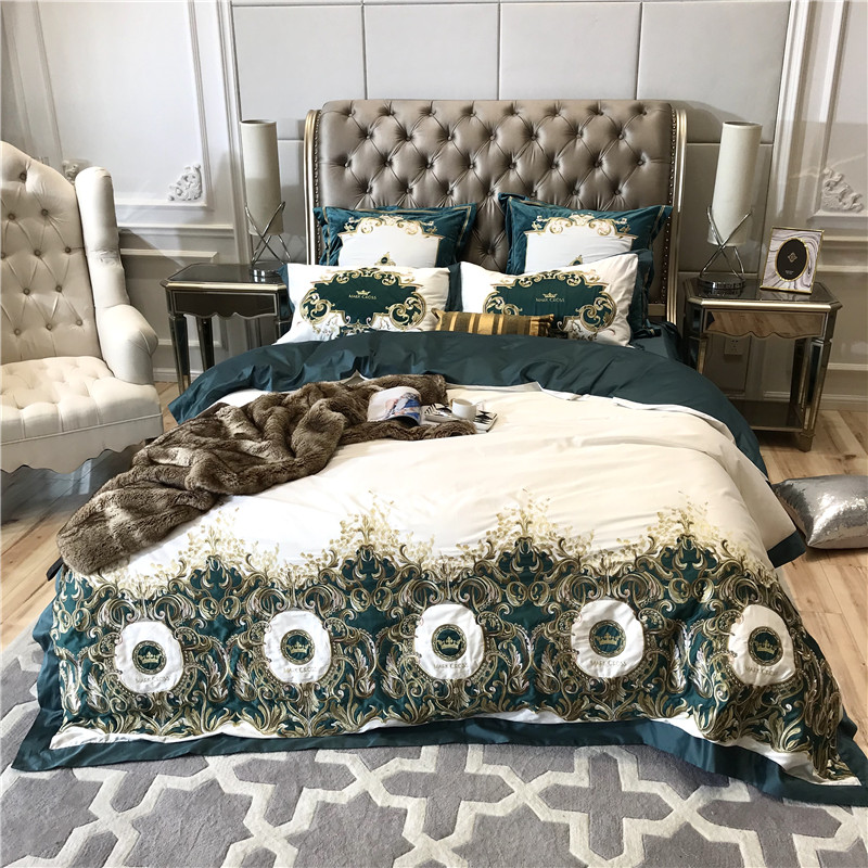 2018 Luxury crown embroidery bedding sets 100S Egyptian cotton set  hot sale comforter bed set Queen King size 4 pcs2018 Luxury crown embroidery bedding sets 100S Egyptian cotton set  hot sale comforter bed set Queen King size 4 pcs