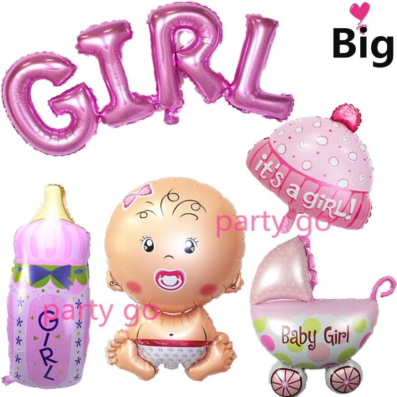 5pcs/lot Big link boy letter+baby+stroller+bottle Balloon Angel Baby Shower Foil Ballon  ...