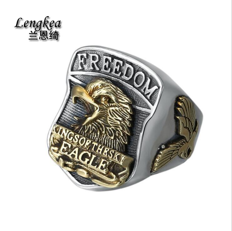 Lengkea bijoux grands anneaux pour hommes 925 bague en argent sterling aigle anneau d'ouverture hommes anneaux hommes bijoux charmes bibelot amis cadeaux